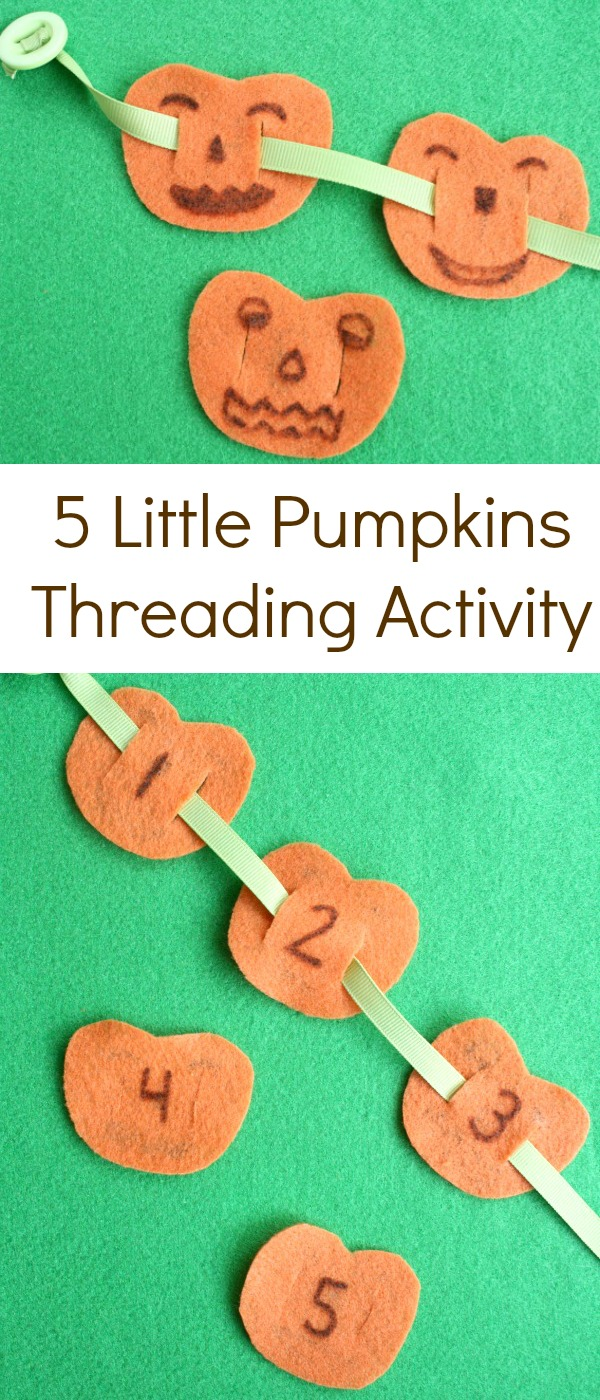 5 Little Pumpkins Threading Fine Motor Activity for Halloween