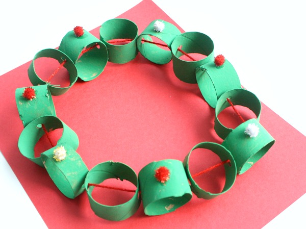 Cardboard Tube Wreath Christmas Craft for Kids