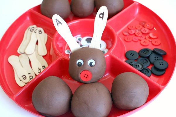Reindeer Antler Alphabet Activity with Play Dough