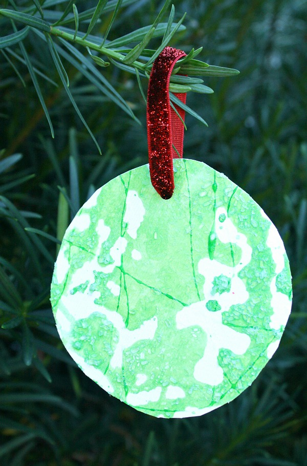 Salt Painted Kid-Made Process Art Christmas Ornament