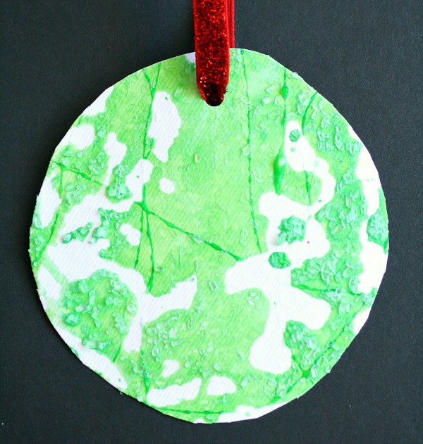 Salt Painted Process Art Christmas Ornament