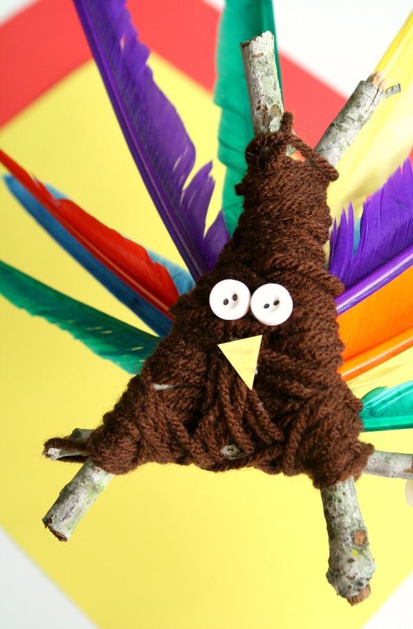 Yarn-Wrapped Thanksgiving Turkey Craft for Preschoolers
