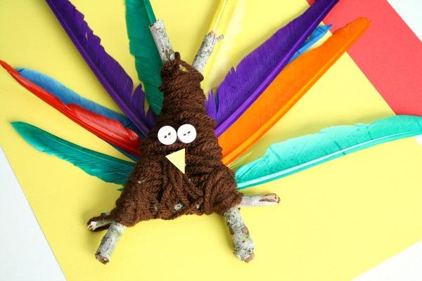 Yarn Wrapped Thanksgiving Turkey Craft