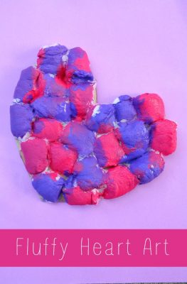 Fluffy Heart Art Preschool Craft for Valentine's Day or Mother's Day