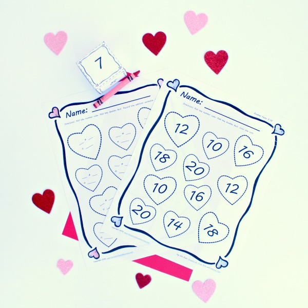 Free Printable Doubles Addition Math Activity for Valentine's Day