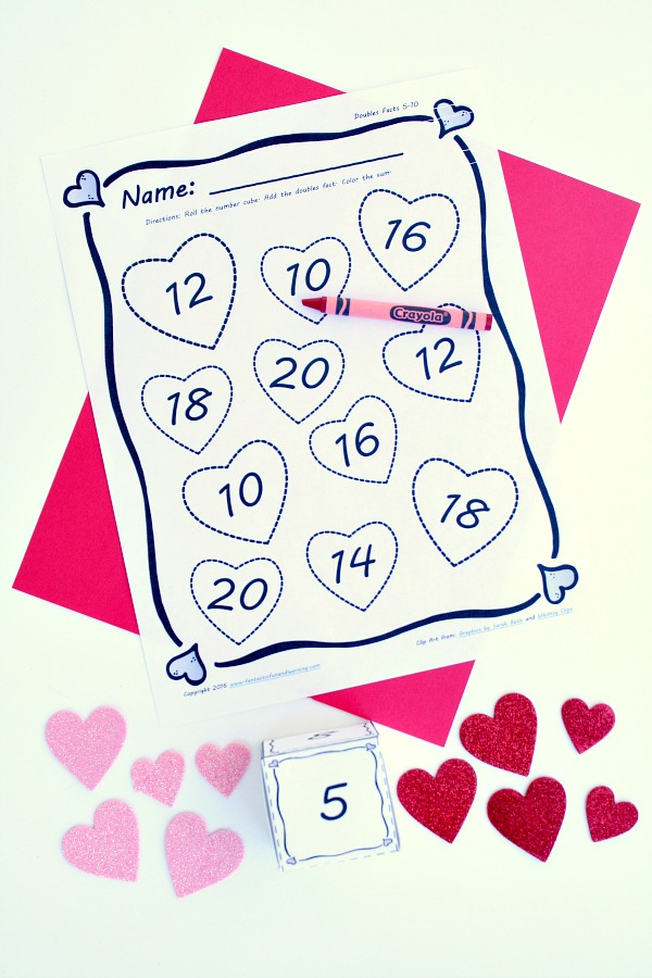Valentine S Day Math Adding Doubles Free Printable Fantastic Fun