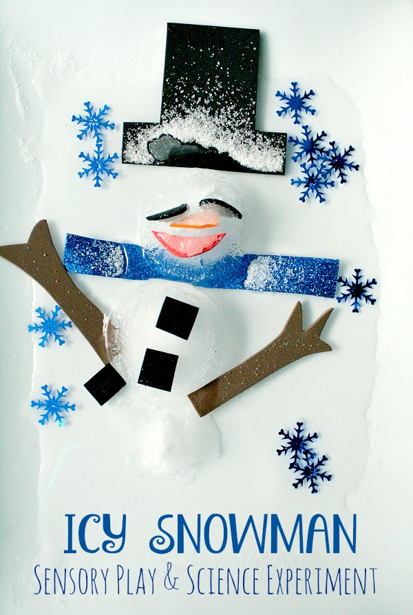 Icy Snowman Winter Sensory Play and Science Experiment-Decorate your own snowman indoors. Then experiment to see how to make him melt fastest.