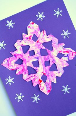 Marble Painted Snowflake Craft Winter Art for Kids
