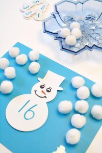 Snowball Addition Winter Math Activity-Use this as a hands-on way to teach basic math facts. We practiced learning doubles and modeling doubles plus one and doubles minus one.