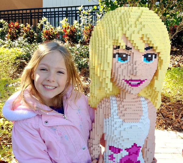 Posing with Lego Sculputures at Legoland Florida