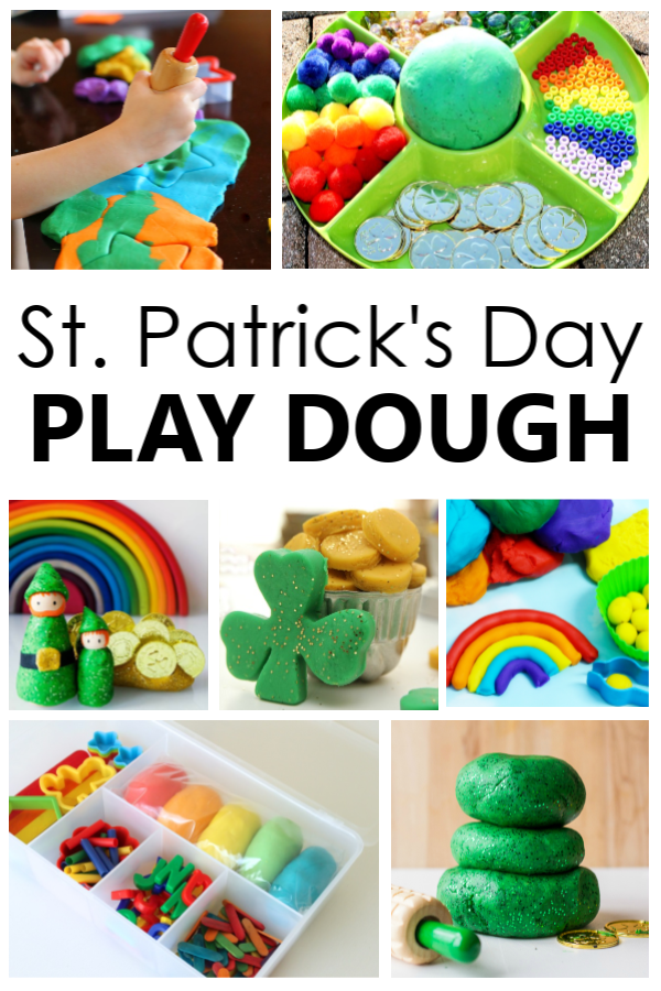 St. Patrick's Day Play Dough Invitations-Gold Play Dough, Sparkly Green Play Dough, Rainbow Play Dough, Leprechaun Play Dough and More!