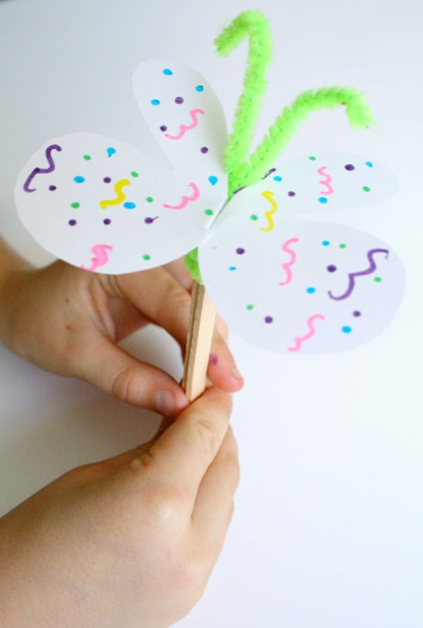 Craft Stick Butterfly for Pretend Play