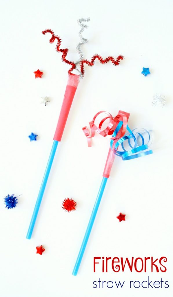 Fireworks straw rockets-4th of July craft and toy for kids