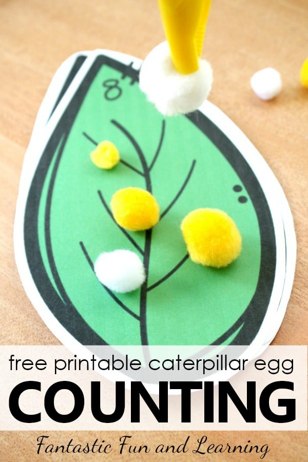 Free printable caterpillar egg counting butterfly theme spring math activity for preschool and kindergarten