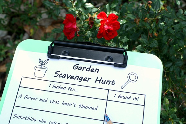Garden Scavenger Hunt Printable for Kids