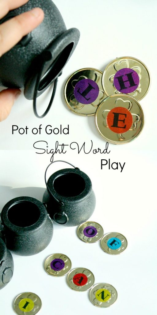Pot of Gold Sight Word and Spelling Word Play for St. Patrick's Day
