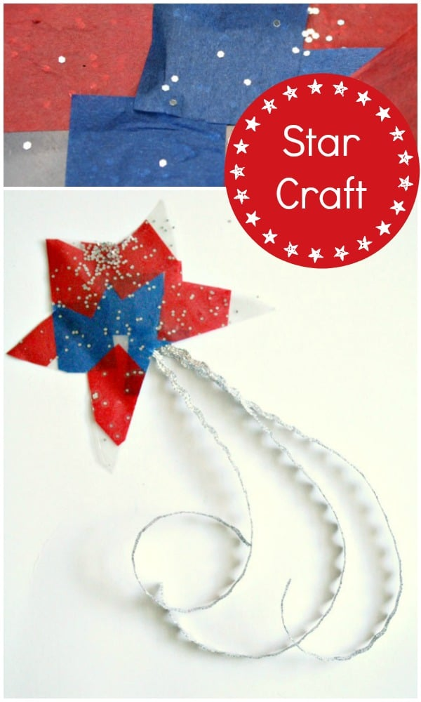 Red White and Blue Craft-Easy Star for 4th of July. Use as a wand, suncatcher, or wall hanging