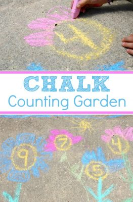 Chalk Counting Garden-Take math outdoors this spring and create a chalk counting garden with this math and art activity for preschoolers