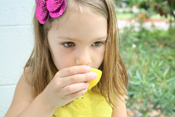 Drinking lemonade out of lemons-preschool play