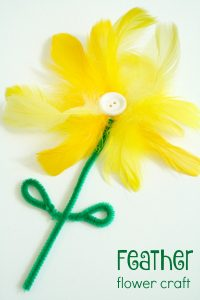 Feather Flower Craft-Quick activity for spring art or a Mother's Day card