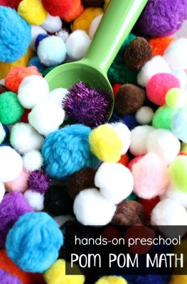Hands-On Preschool Pom Pom Math Activities-Practice counting, sorting, adding and shapes with this low-prep activity