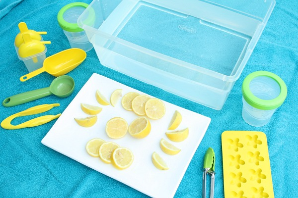 Materials for lemon sensory play