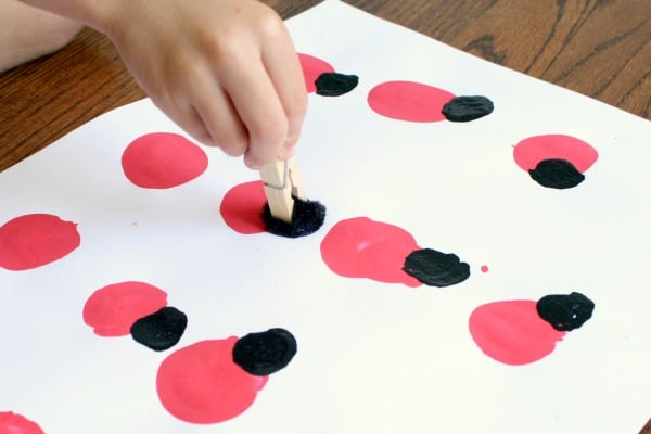 Painting with Pom Poms-Ladybug Art