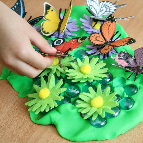Preschool Activity for Spring-Make a Play Dough Butterfly Garden