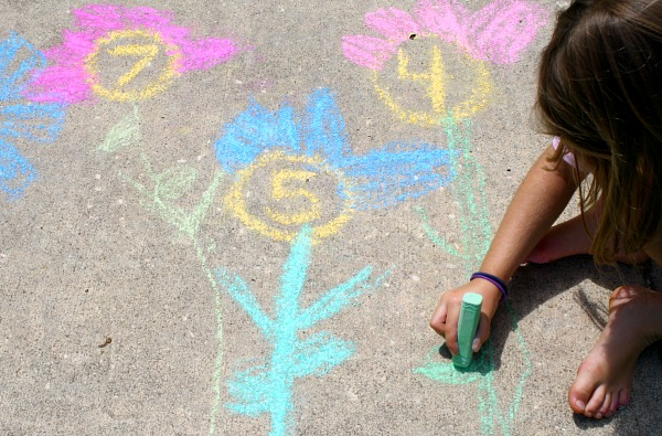 Preschool Counting Spring Activity-Chalk Counting Garden