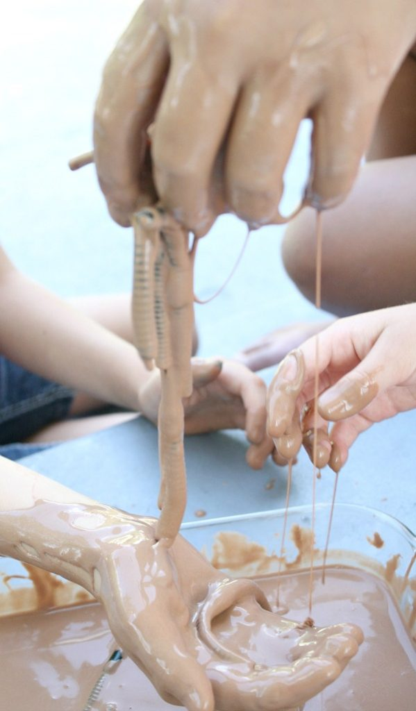 Spring Messy Play for Preschool-Wiggle Worm Sludge