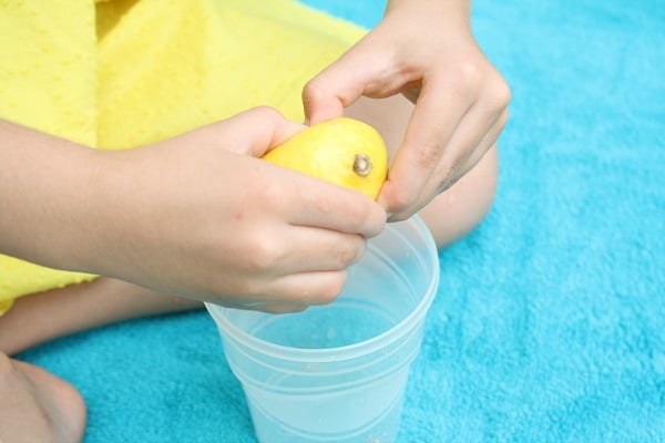 Squeezing lemons-preschool fine motor play