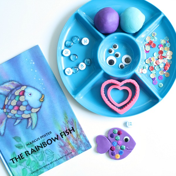 Materials for Rainbow Fish Play Dough Counting Activity