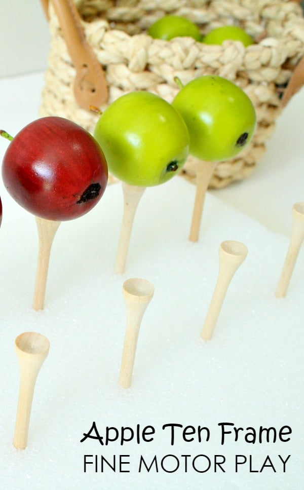 Apple Ten Frame Fine Motor Play for Preschool and Kindergarten with Free Printable Task Cards