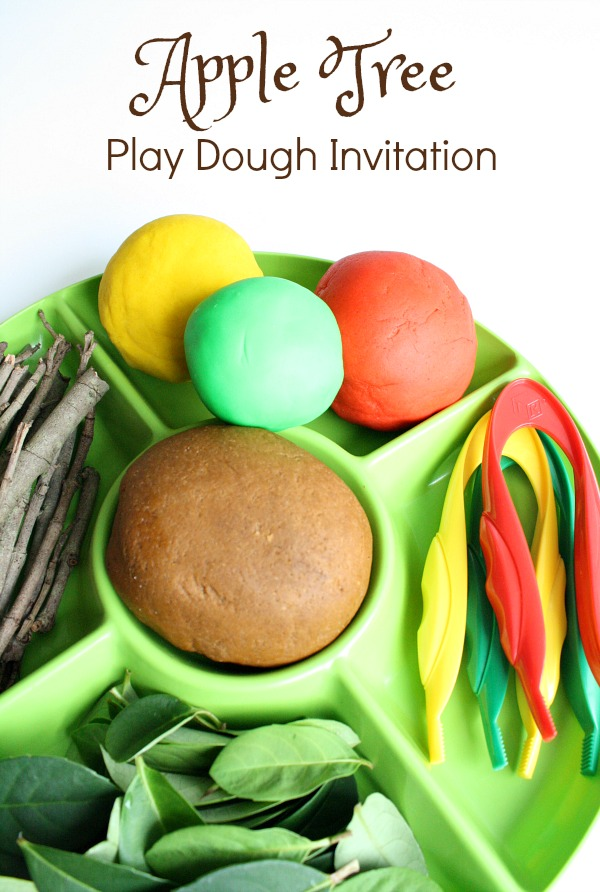 Apple Tree Play Dough Invitation-Use loose part to build your own apple tree. Then practice fine motor skills by apple picking
