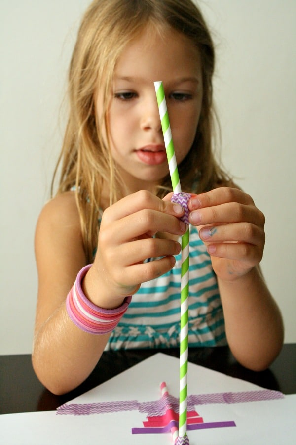 STEM for kids-paper and straw creations