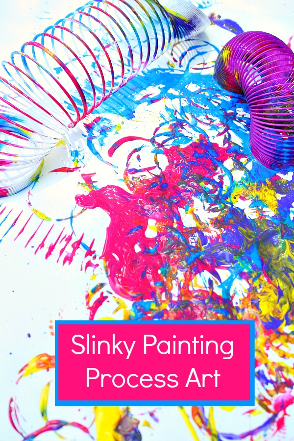 Slinky Painting-Super fun process art for kids
