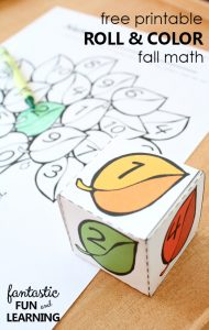 free printable roll and color fall math games for kindergarten and first grade