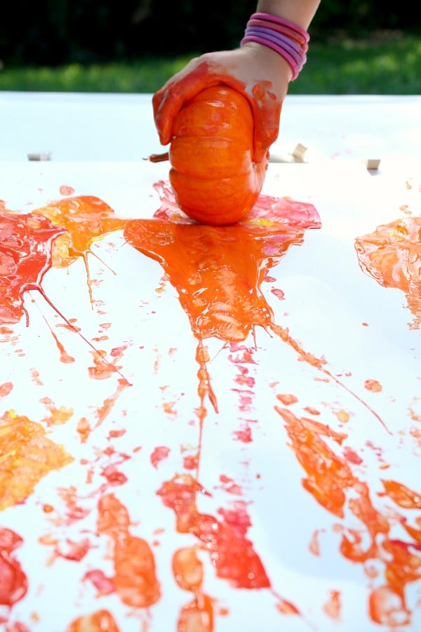 Painting with Pumpkins Fall Art for Kids