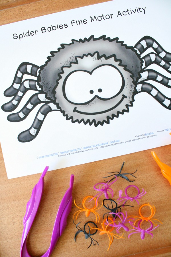 Spider Babies Fine Motor Activity Halloween and Spider Theme Fine Motor Play for Preschool