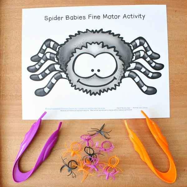 Spider Babies Fine Motor Halloween Activity for Preschool