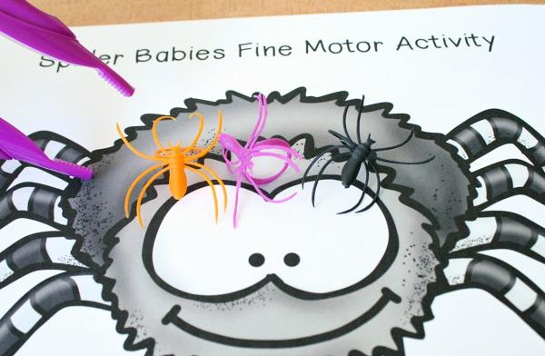 Spider Babies Halloween Fine Motor Play