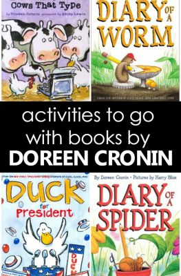 Activities to go with books by Doreen Cronin-Fun ideas to go with the books Click Clack Moo, Diary of a Spider, Diary of a Worm, and Duck for President