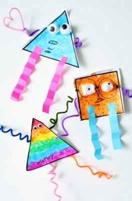 Shape Monster Art Project-This is a great way to learn about shapes and incorporate process art. Use it for a Letter M theme or Halloween