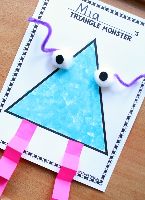 Shape Monster Collage Art for Preschool and Kindergarten