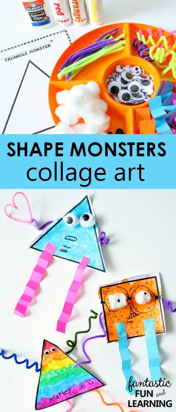 Shape Monsters Collage Art on Bulletin Board Kids Monsters