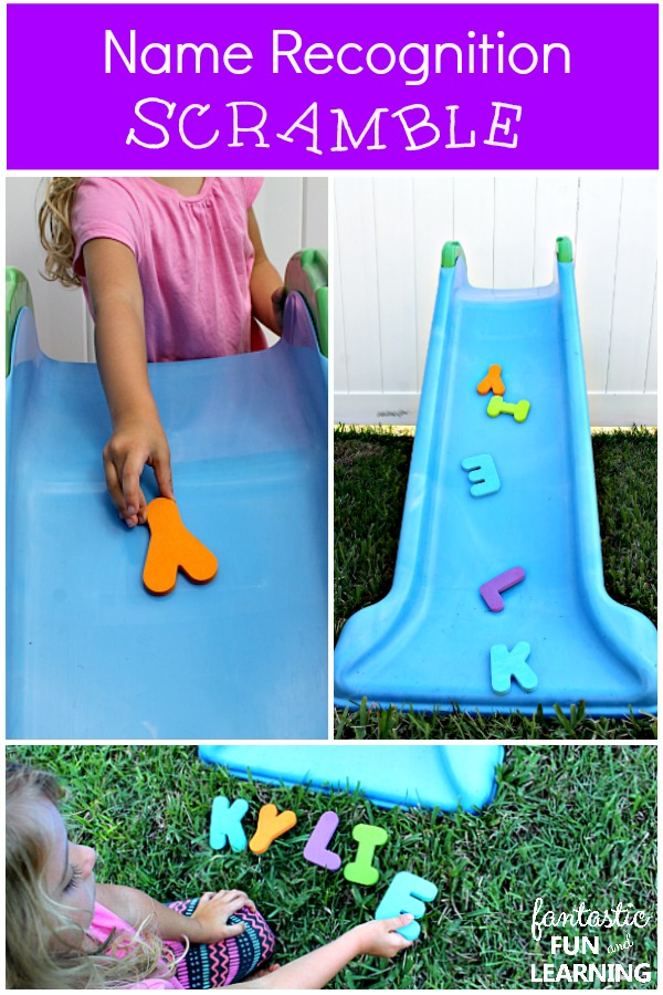 Name Recognition Scramble-Playful outdoor name activity for preschoolers