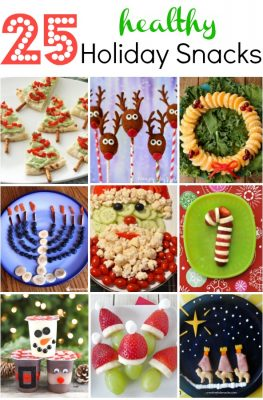 25 Healthy Holiday Snacks-Includes ideas for Christmas, Hanukkah, and Three Kings Day. There are ideas for Christmas parties and after school snacks as well as lunch box snacks and class parties