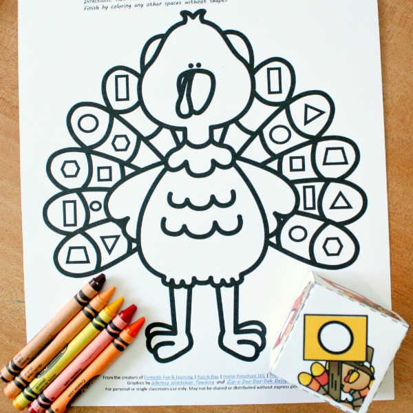 Roll & Color Turkey Math