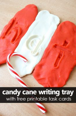 Candy Cane Play Dough Writing Tray with Free Printable Letter Number and Shape Writing Task Cards