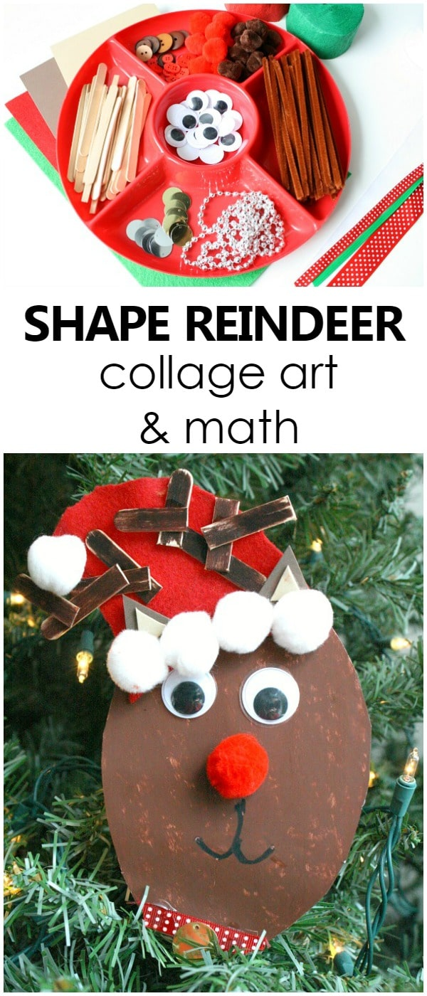 Shape Reindeer Collage Art and Math Christmas Activity for Kids with printable ideas and resources